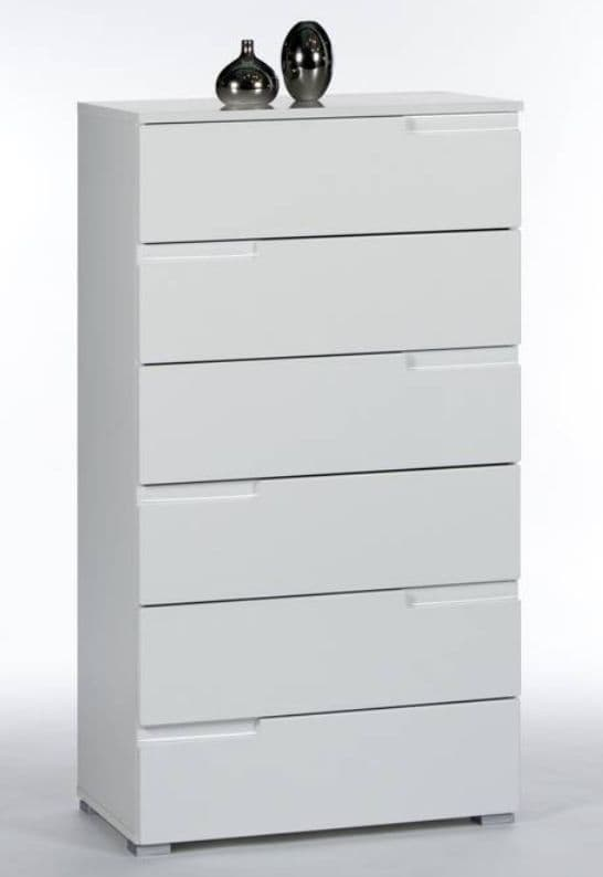 Cellini Tall White Chest Of Drawer Storage Chest S3 – Furniture Factor